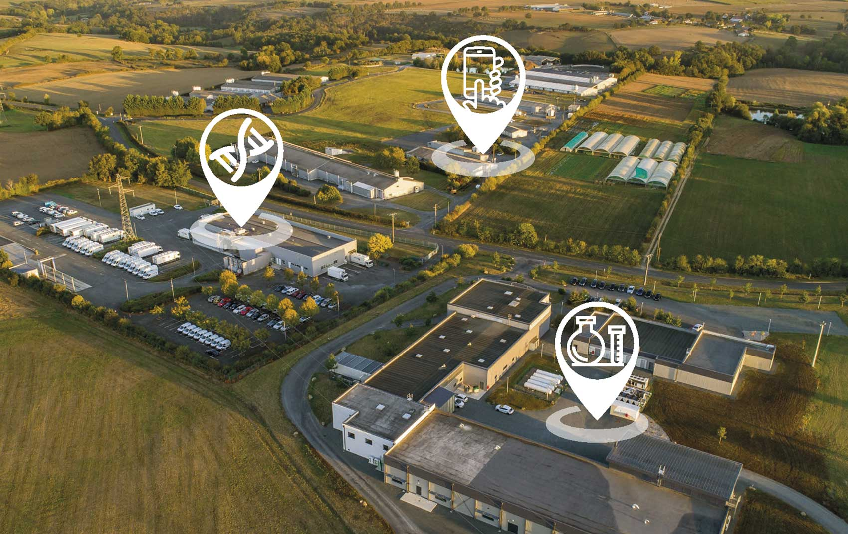 Aerial view of Animal Genetic Selection buildings